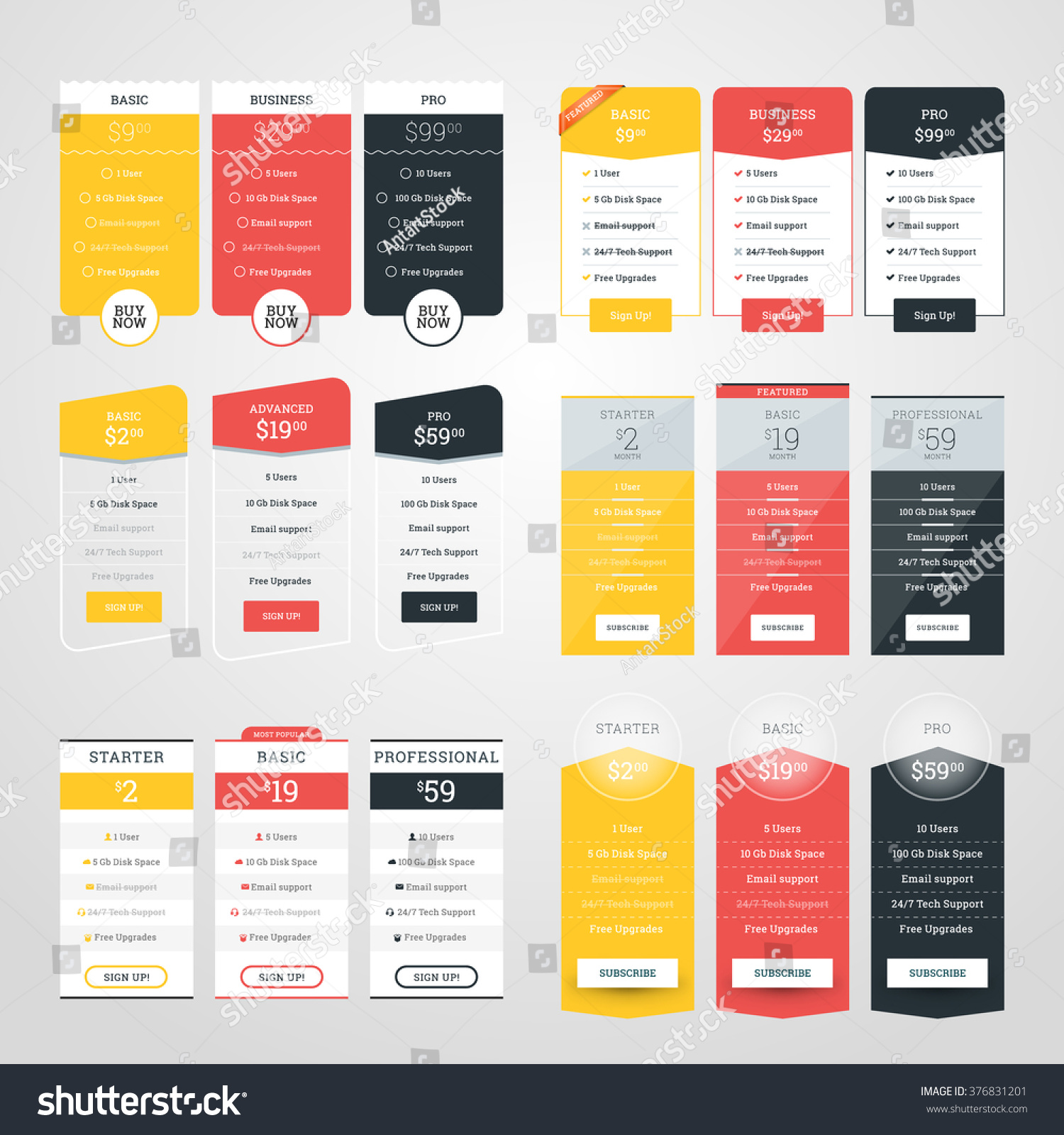 set pricing table design templates websites のベクター画像素材