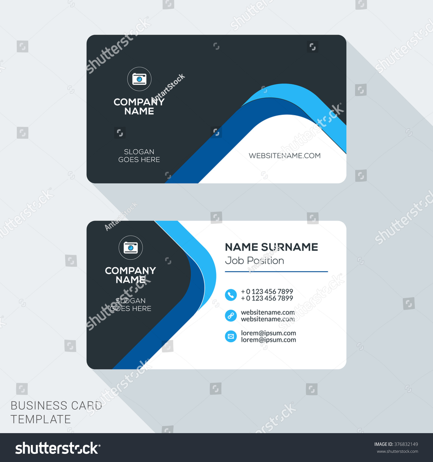 creative clean corporate business card template stock vector