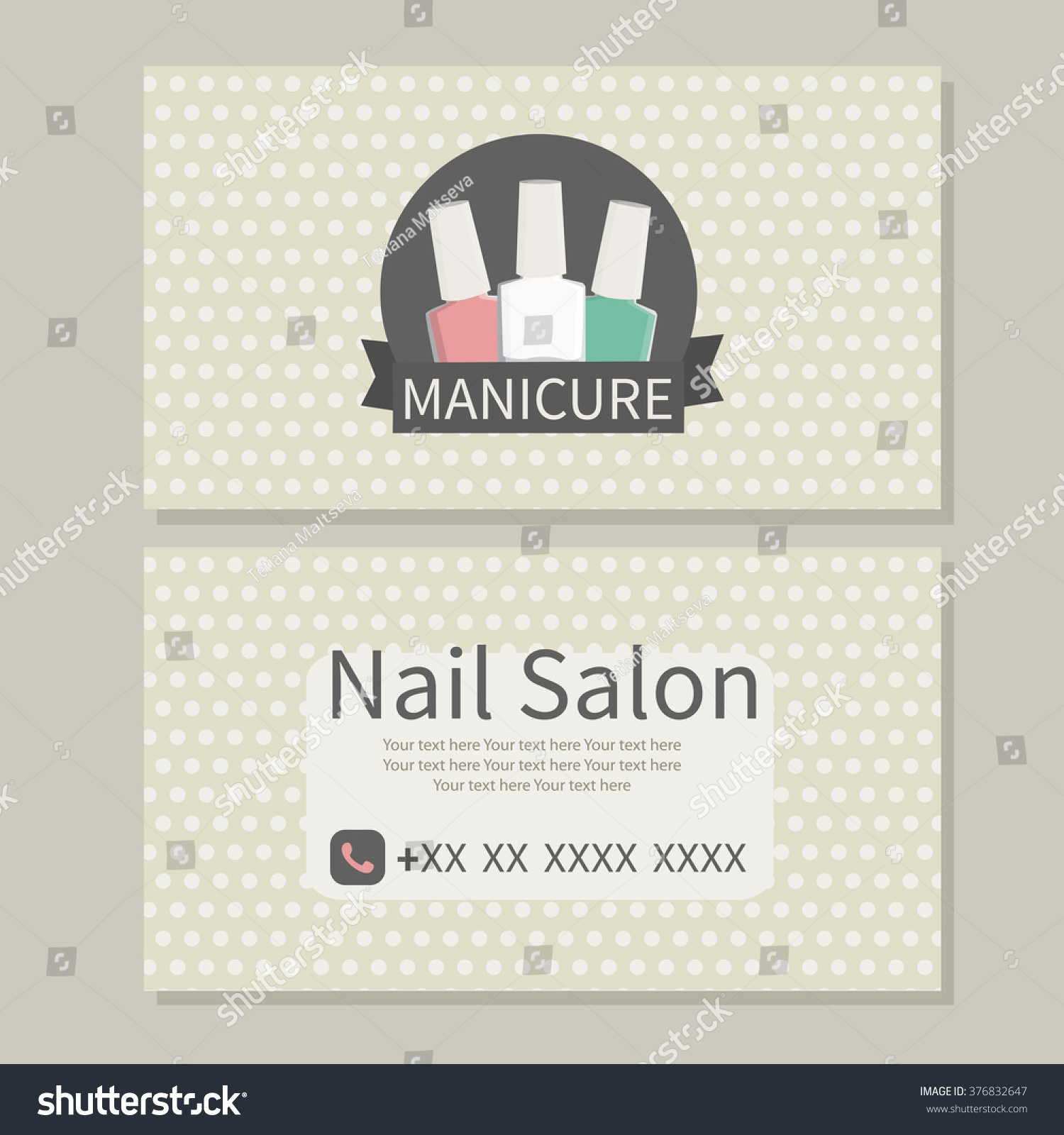 Beauty Manicure Care Nail Salon Cute Stock Vector 376832647 ...