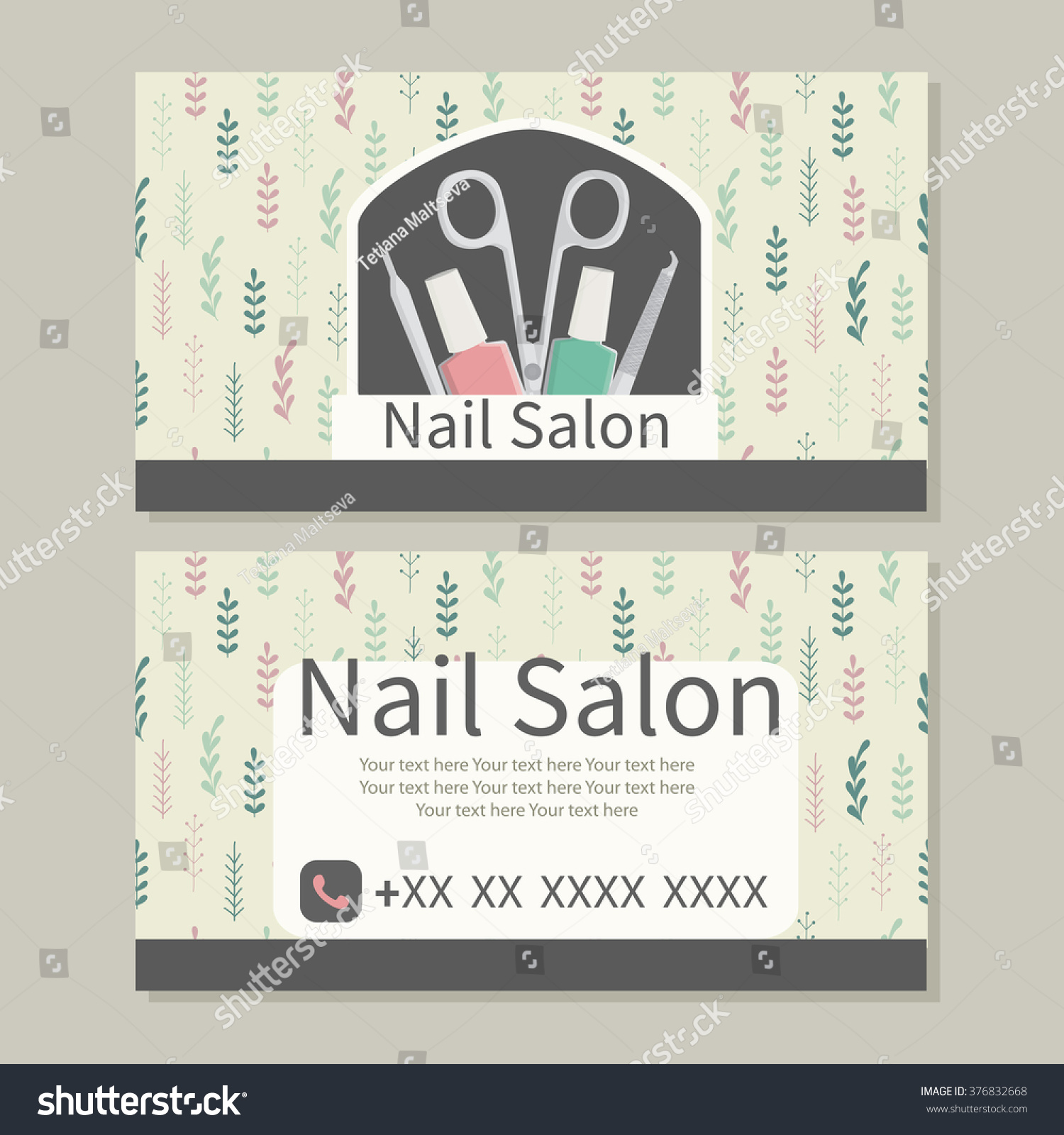 Beauty manicure care nail salon cute stock vector 376832668 nail salon cute design of business cards for manicure magicingreecefo Image collections