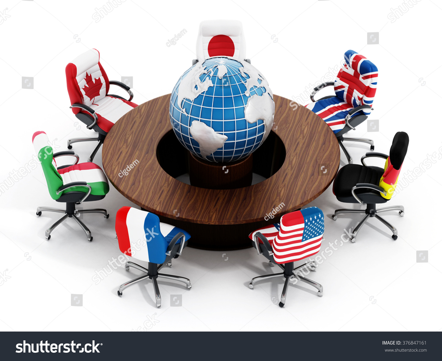globe office chairs. G7 Country Flags On Office Chairs Around Table Wth Globe Isolated White  Background L