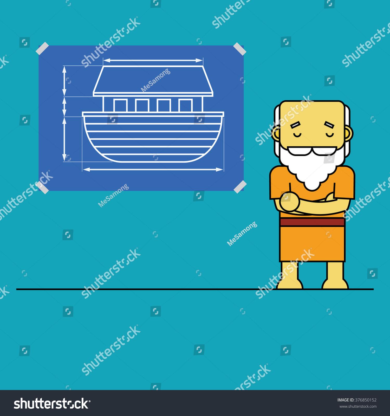 Noah blueprint ark stock vector 376850152 shutterstock noah and blueprint of ark malvernweather Gallery