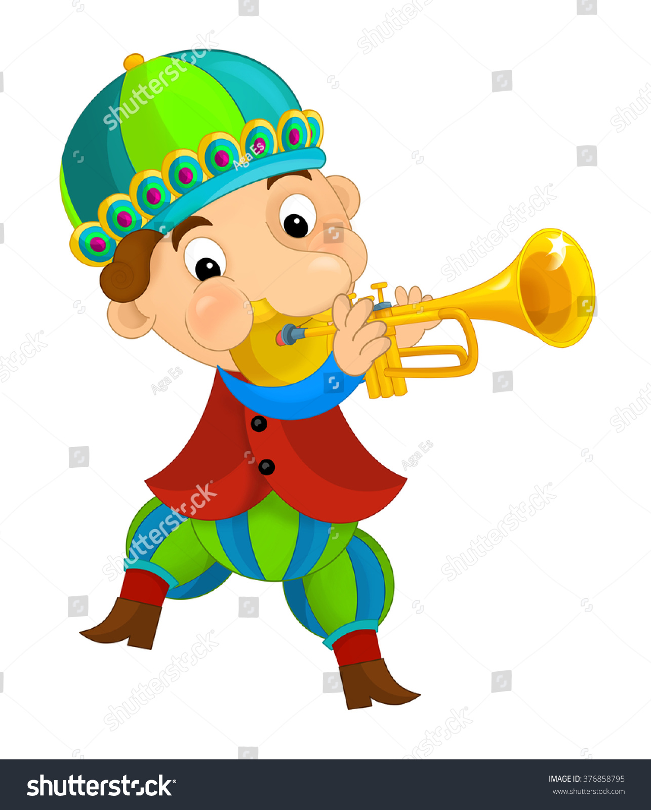 cartoon medieval character jester trumpet isolated stock