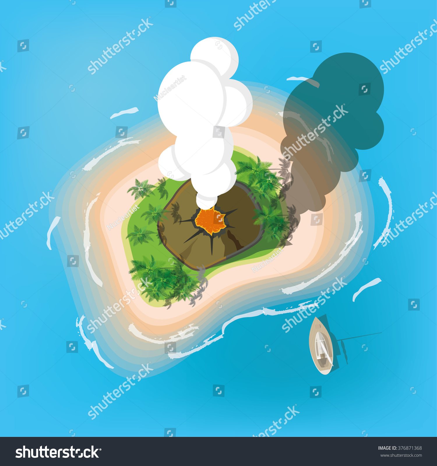 The Island With The Volcano. View From The Top. Vector ... Island Top View Vector