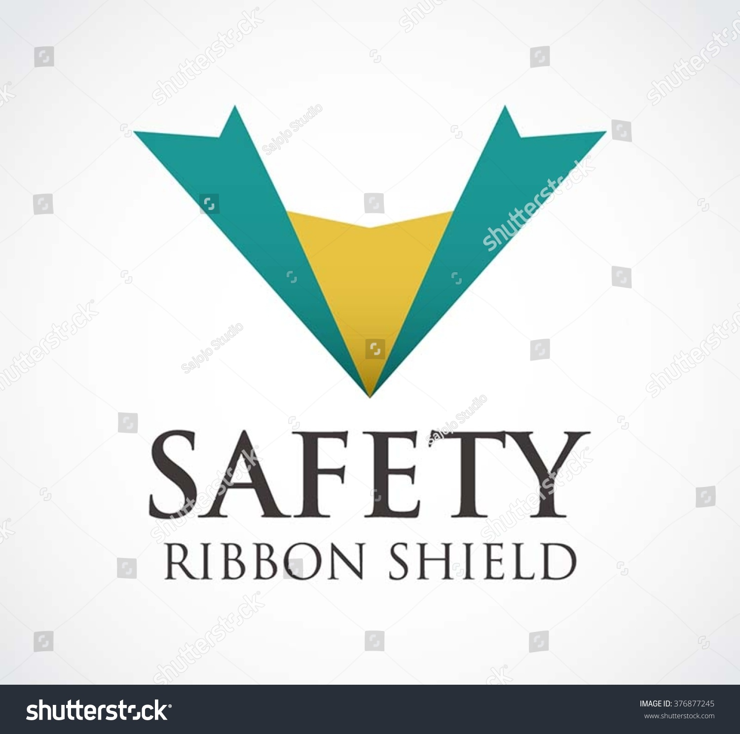 Safety Ribbon Of Shield Abstract Vector And Logo Design Or Template Secure Office Business Icon