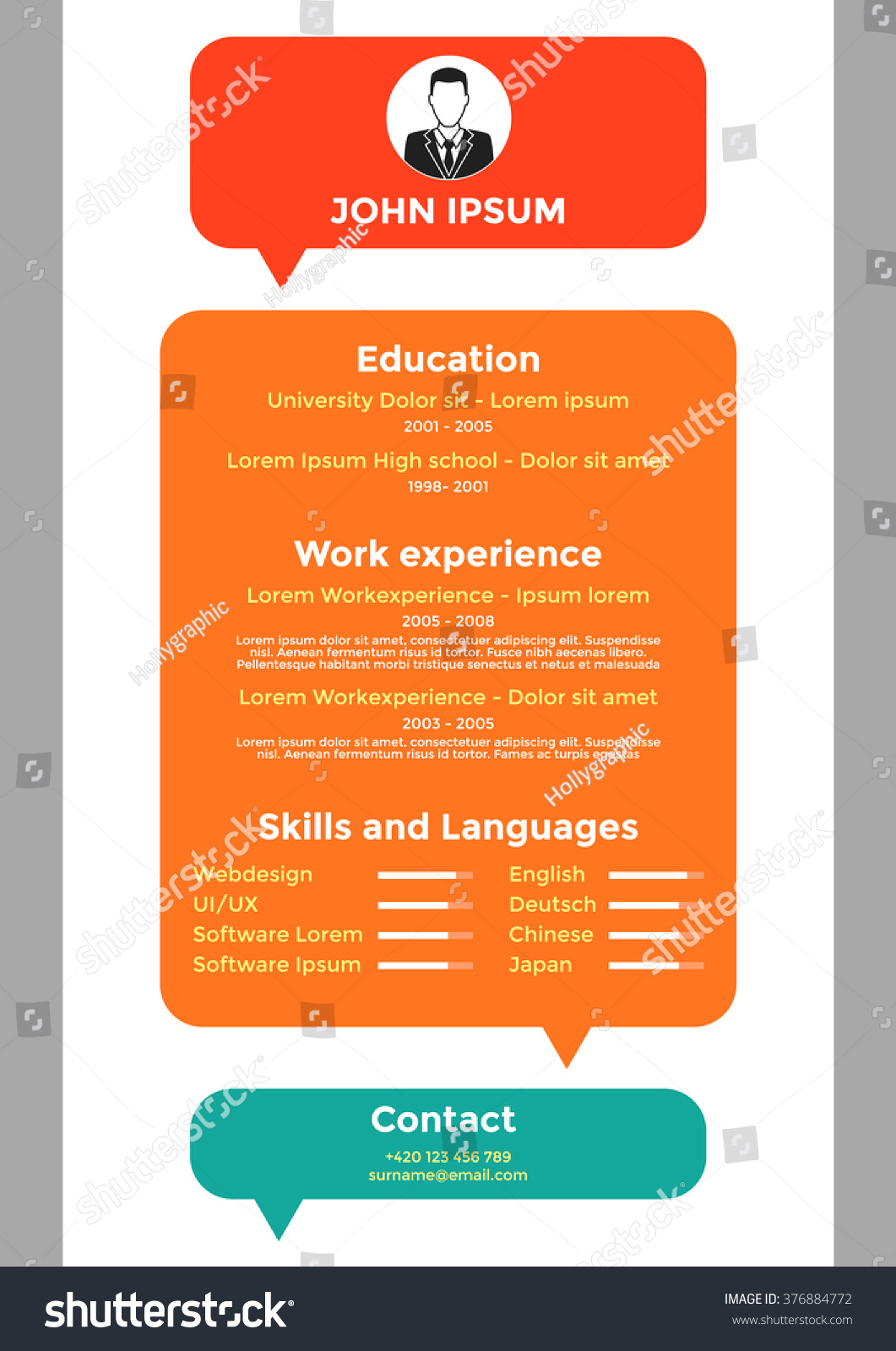 cv resume template vector graphic layout modern cv design for unemployed or for - Cv Design Templates Vector