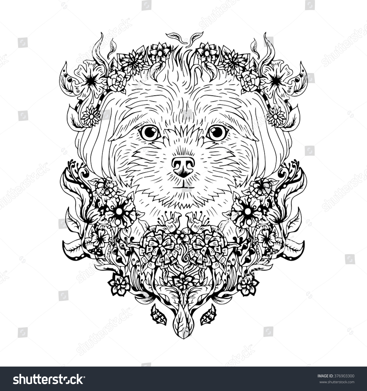 black white animal dog head abstract stock vector 376903300 shutterstock. Black Bedroom Furniture Sets. Home Design Ideas