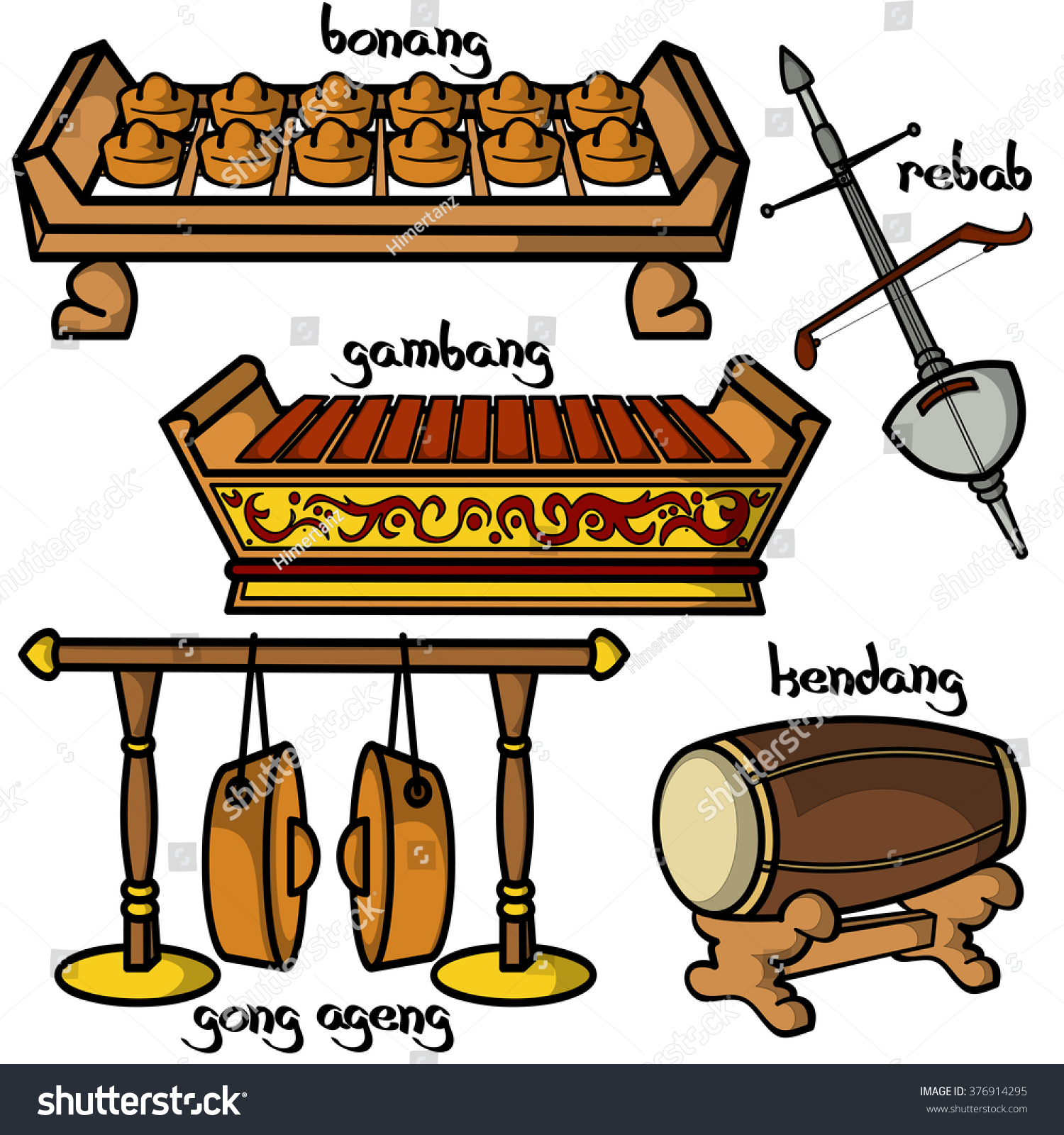 Set Hand Drawn Traditional Indonesian Musical Stock Vector ...