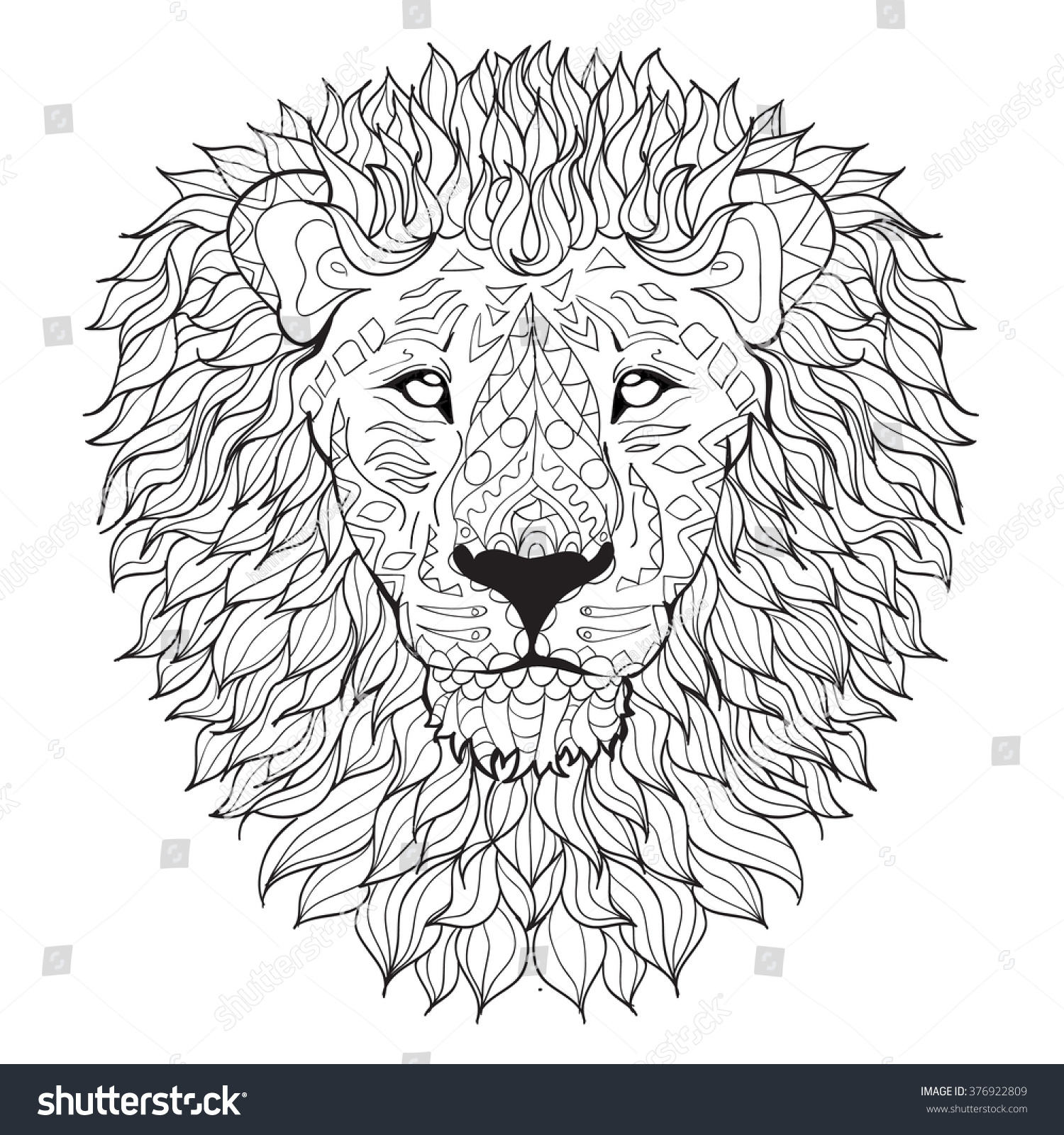 Coloring Pages Lion Head Coloring Page lion head coloring page eassume com hand drawn isolated on stock vector 376922809 shutterstock