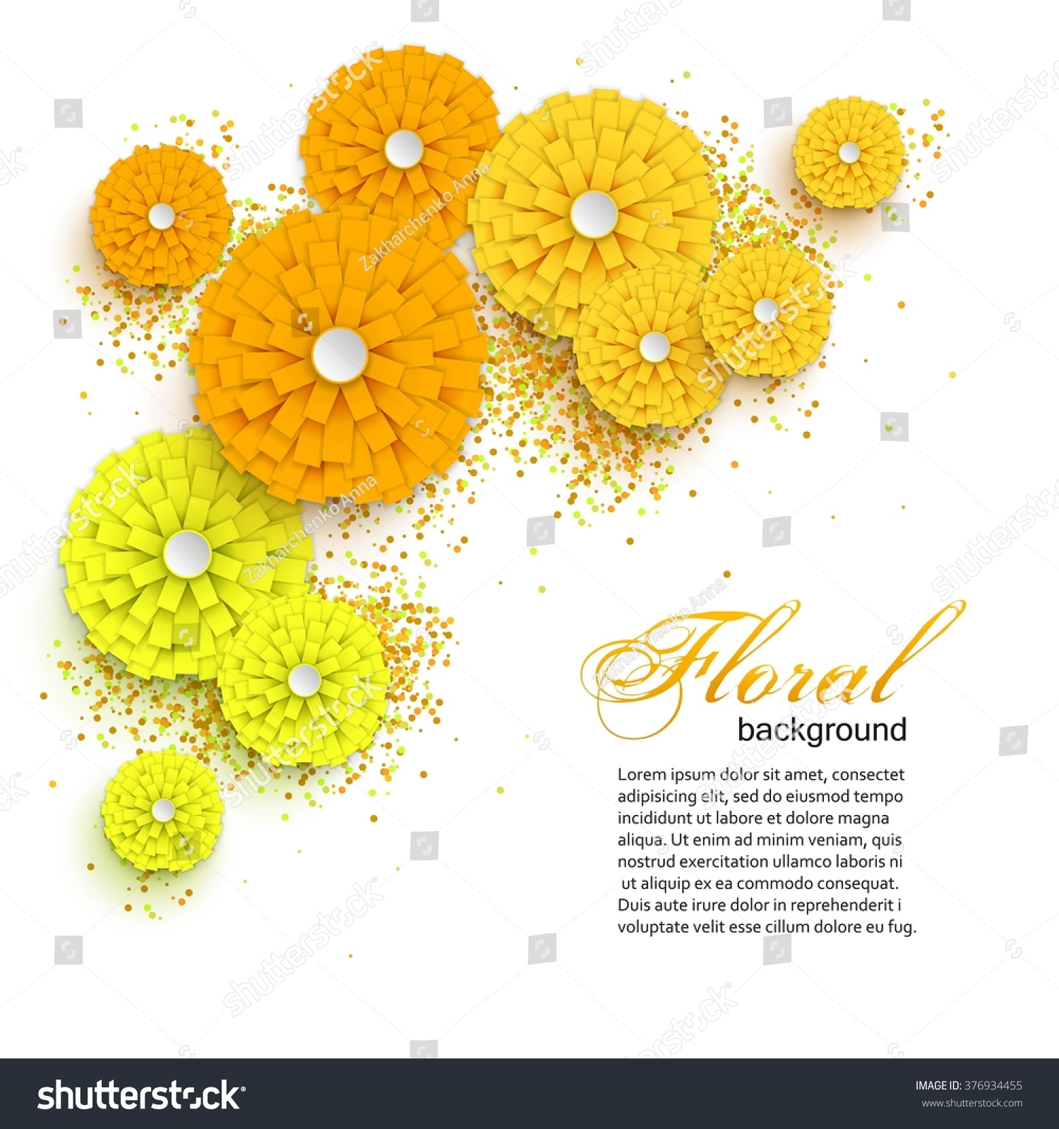 Yellow Cutout Paper Flowers Origami Style Stock Vector Royalty Free
