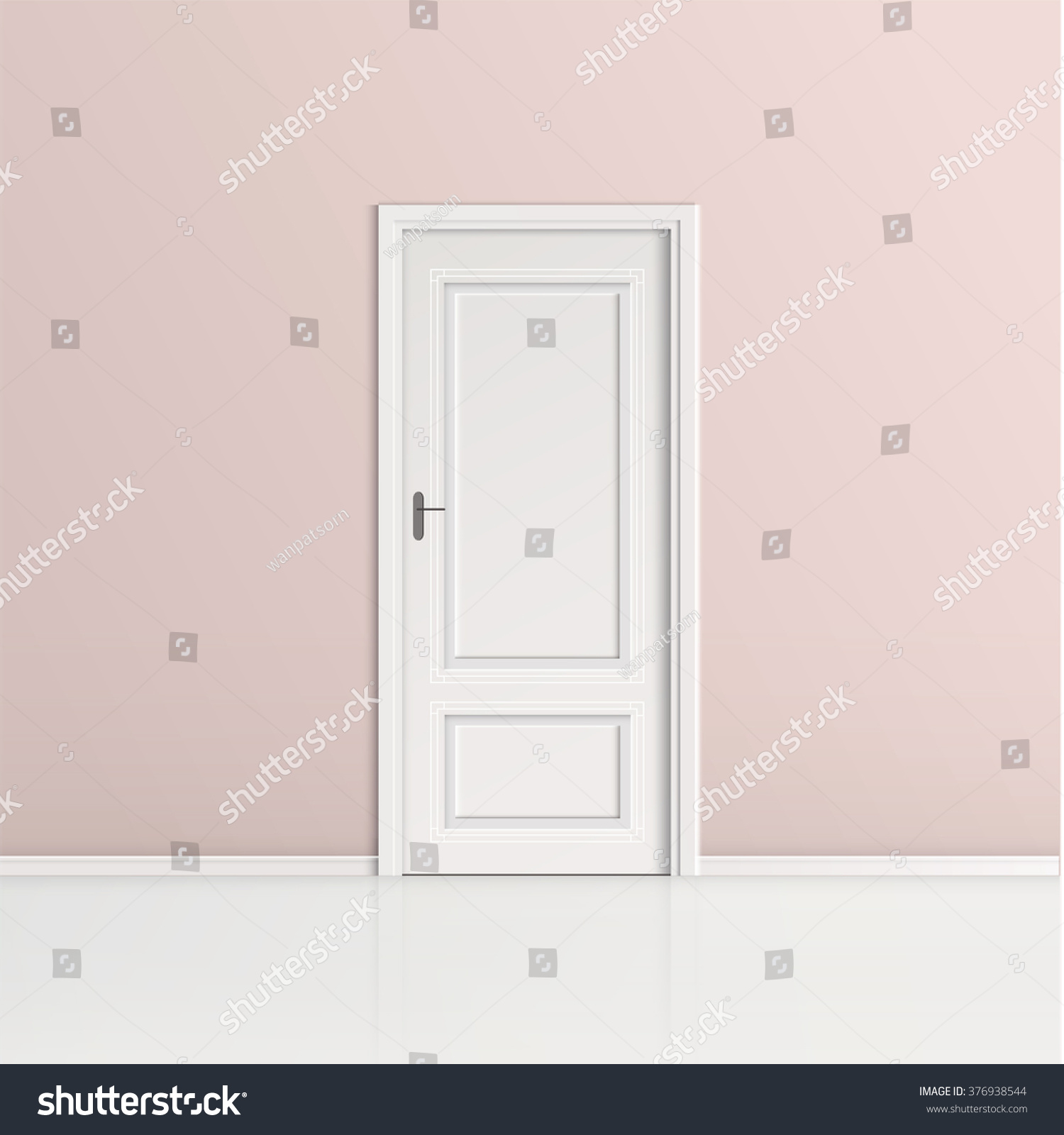 closed door with frame isolated on pink wall background vector design - Door With Frame