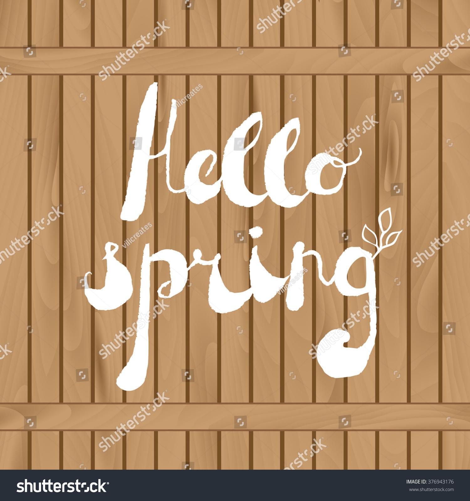 Spring Season Welcoming Season Greetings Handwritten Stock Vector