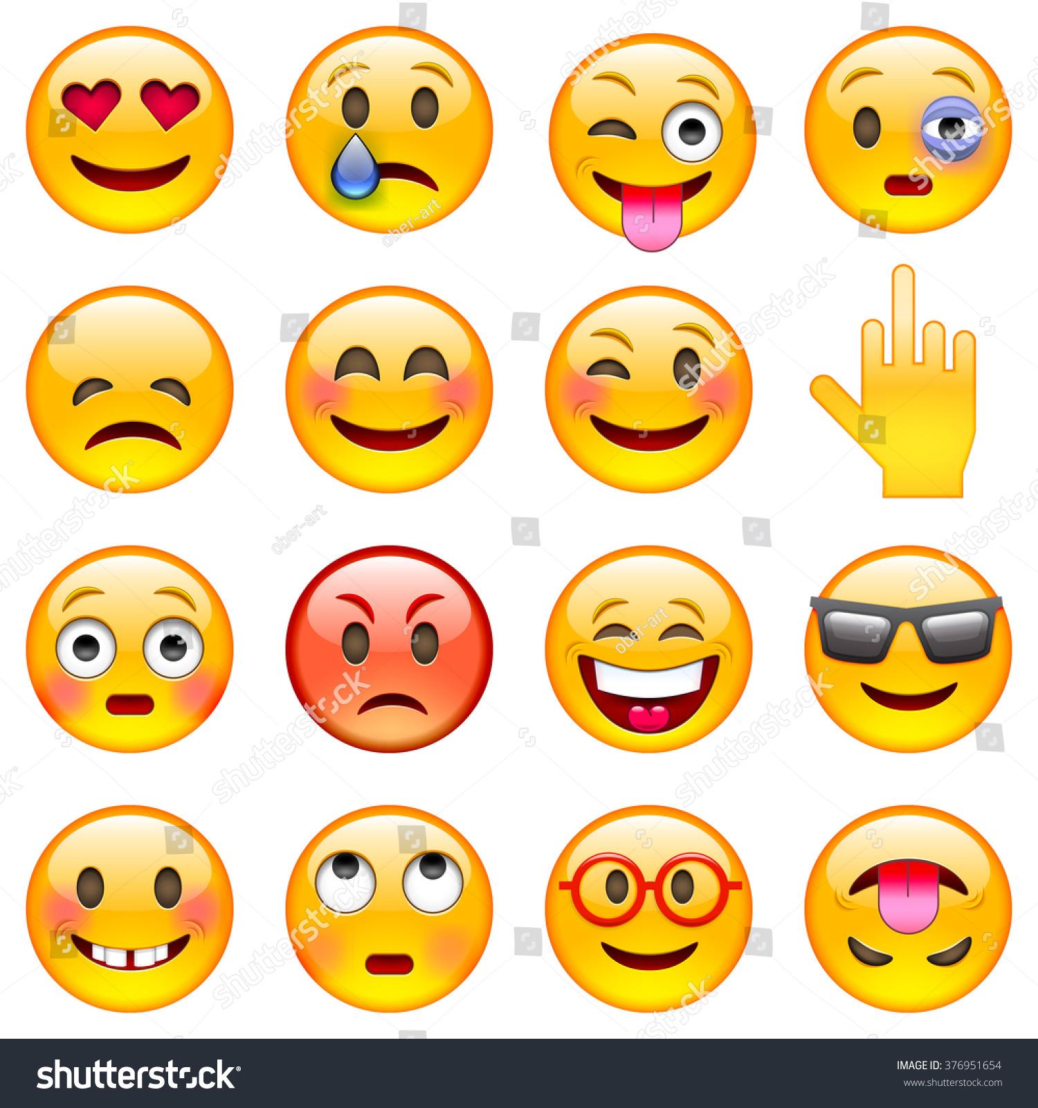 Set Emoticons Set Emoji Isolated Vector Stock Vector 376951654 ...