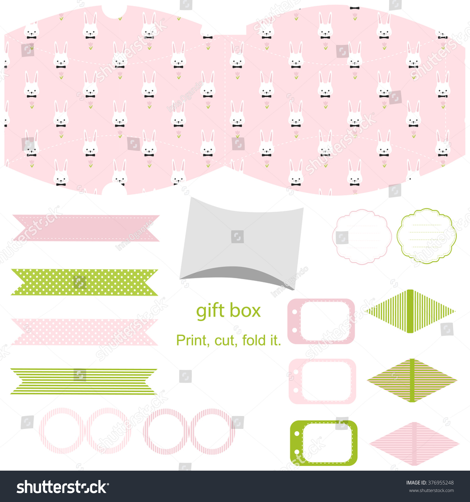 Party set gift box template empty stock vector 376955248 gift box template empty labels and cupcake toppers and food tags negle Images