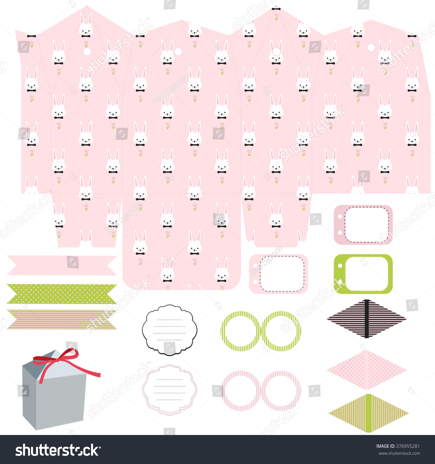 Party set gift box template empty stock vector hd royalty free gift box template empty labels and cupcake toppers and food tags negle Image collections