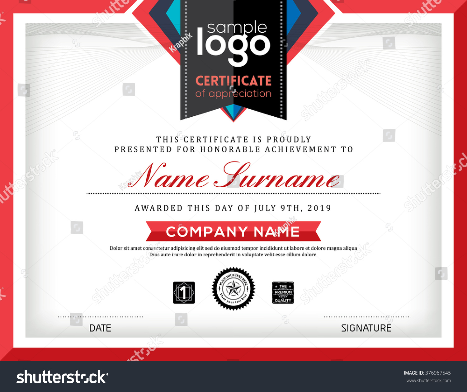 Modern Certificate Abstract Graphic Background Frame Design Template ...