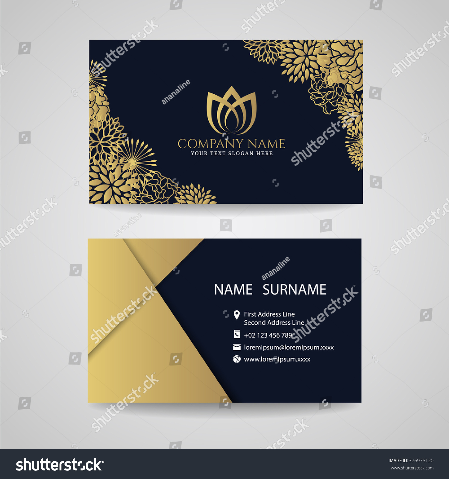 Business card gold floral frame lotus stock vector 376975120 business card gold floral frame and lotus logo and gold paper on dark blue background magicingreecefo Gallery