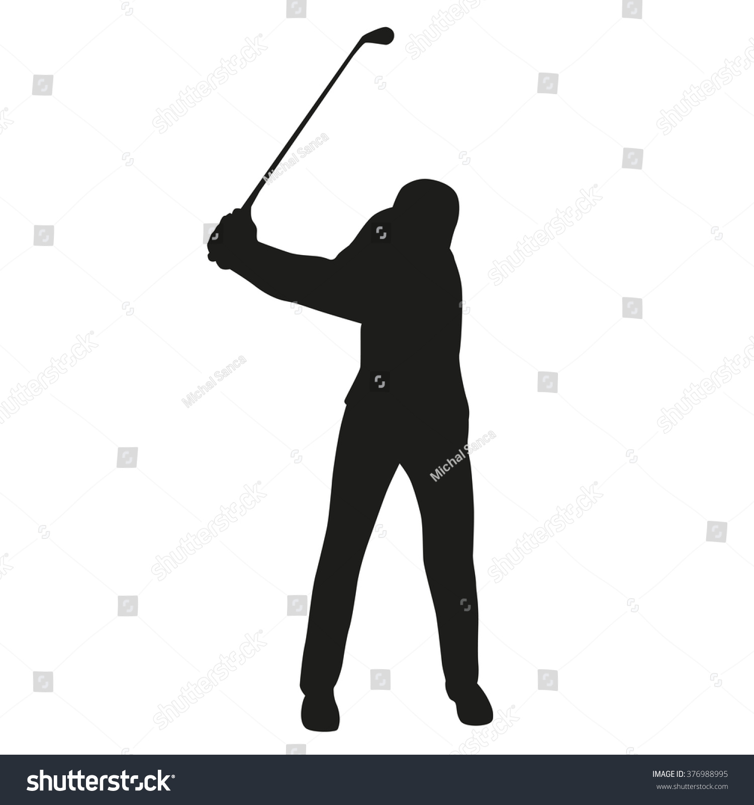 golf swing golf player isolated silhouette vector golfer