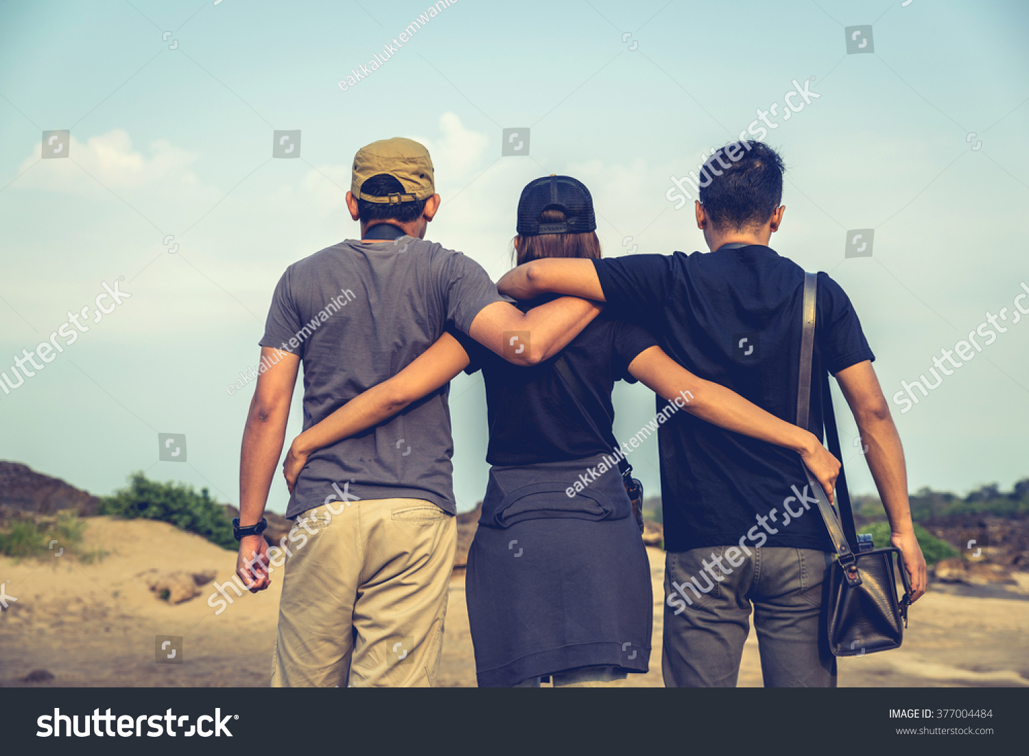 Three Best Friends Out Go Travel People Stock Image 377004484