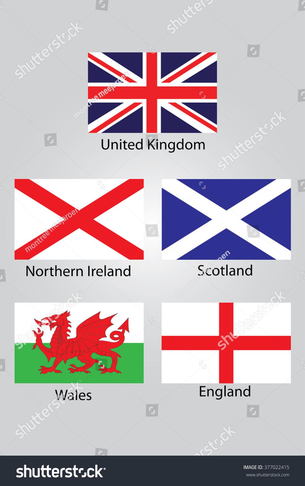 flags british northern ireland scotland wales stock vector