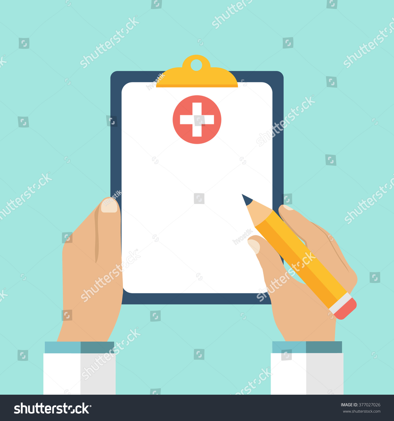 clipboard hand doctor doctor takes notes のベクター画像素材