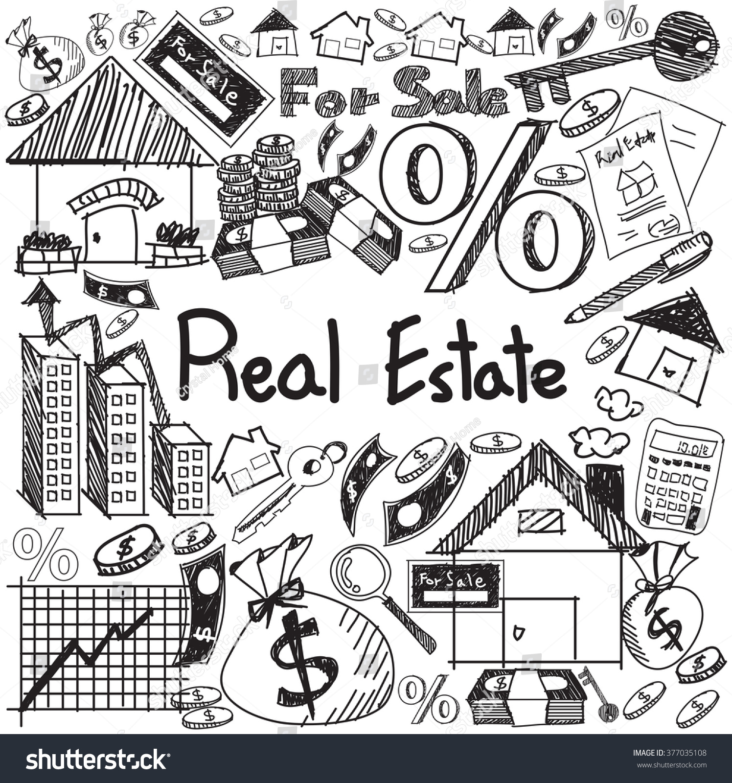 Coloring book real estate - Real Estate Business Industry And Investment Handwriting Doodle Sign And Symbol In White Isolated Background Paper