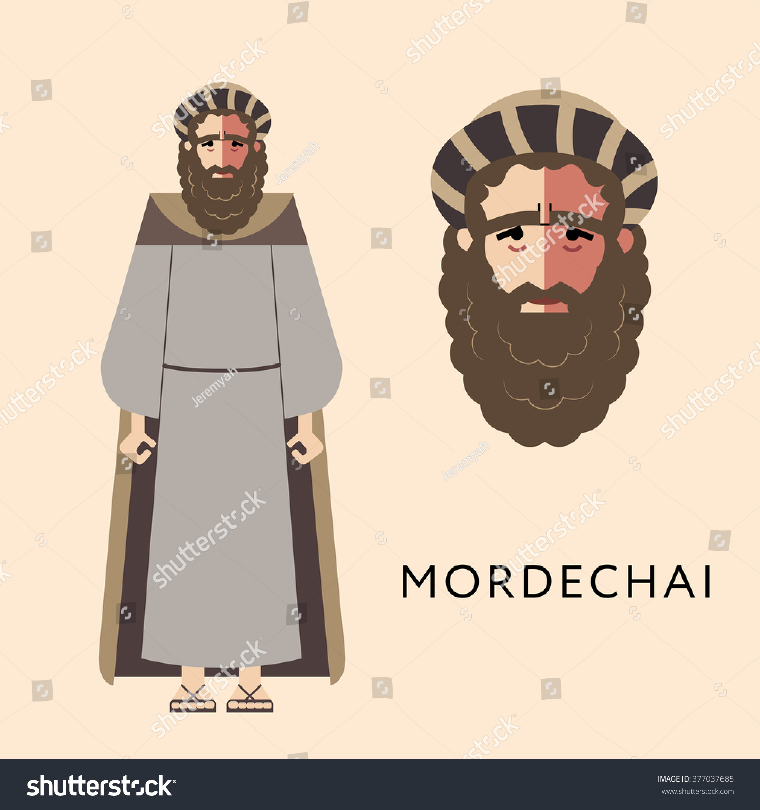 flat vector bible character jewish religion stock vector 377037685