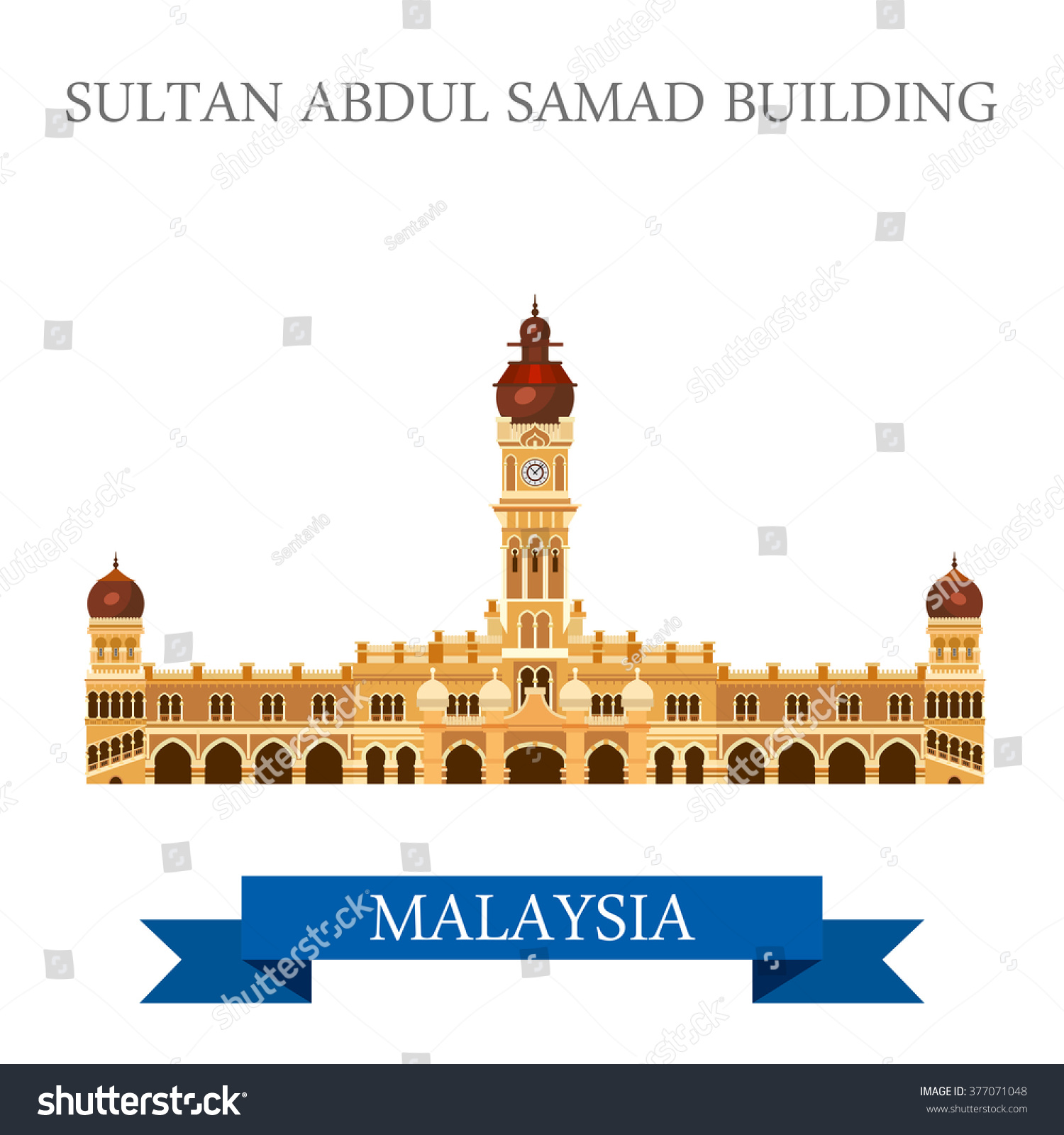 Sultan Abdul Samad Building In Malaysia Flat Cartoon Style Historic Sight Showplace Attraction Web Site