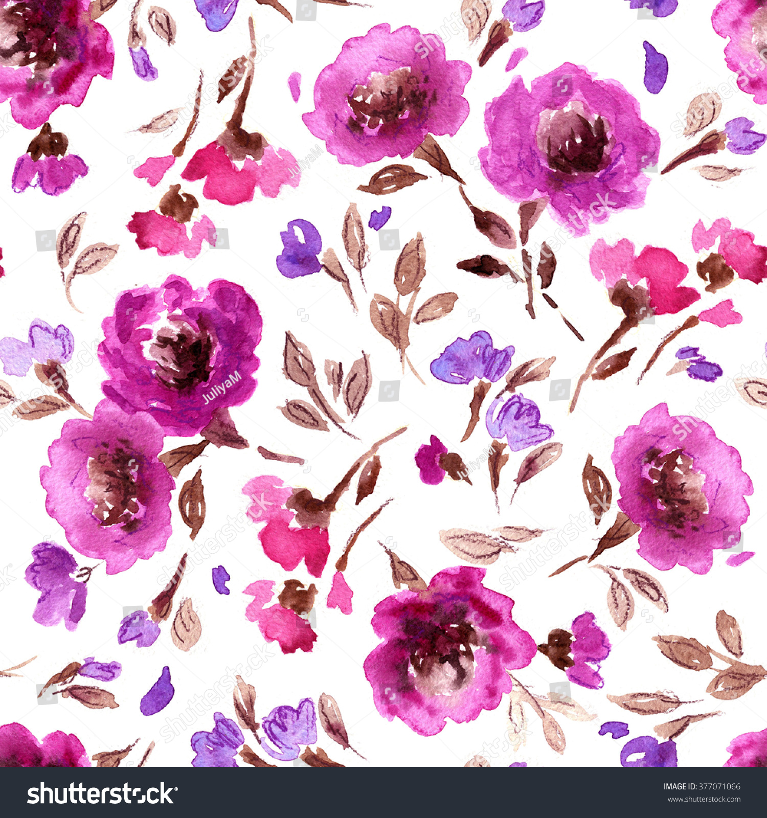 Watercolor Floral Pattern Seamless Pattern Purple Stock
