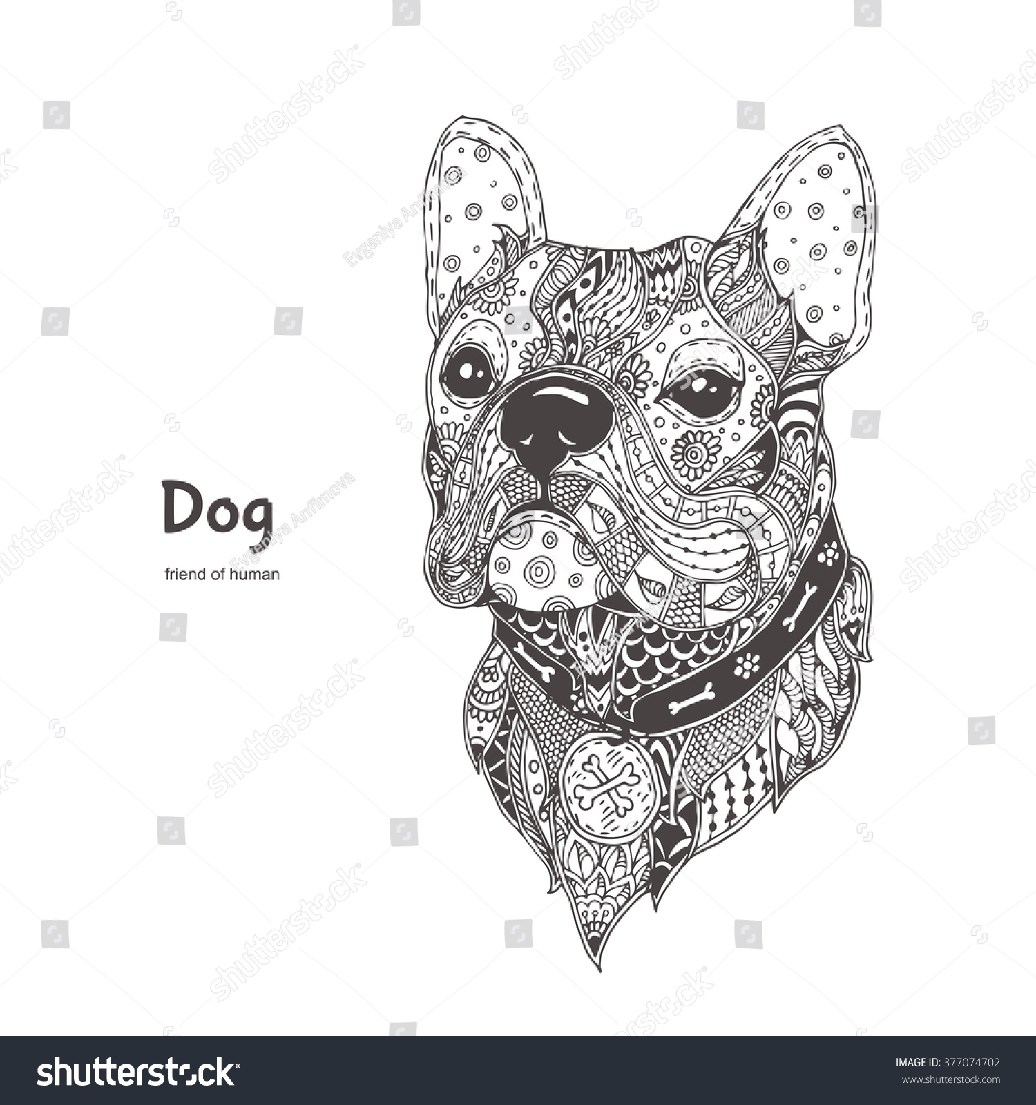 handdrawn dog ethnic floral doodle pattern stock vector 377074702