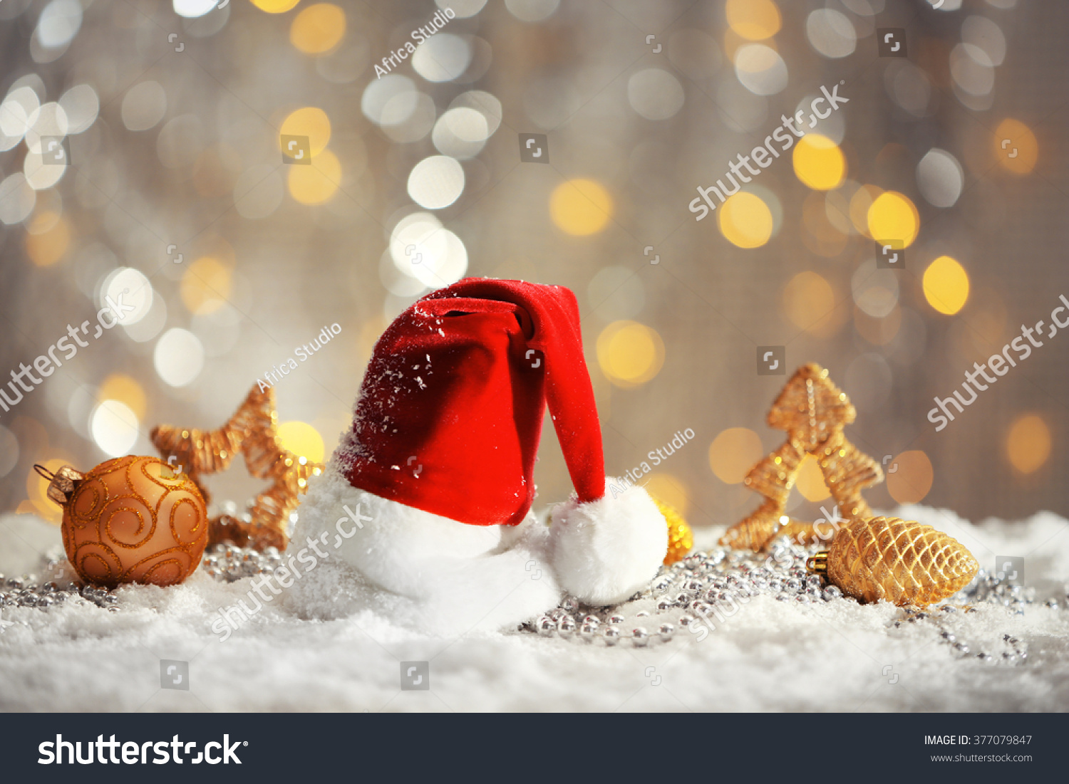 Santa claus red hat christmas decorations stock photo for Artificial snow decoration