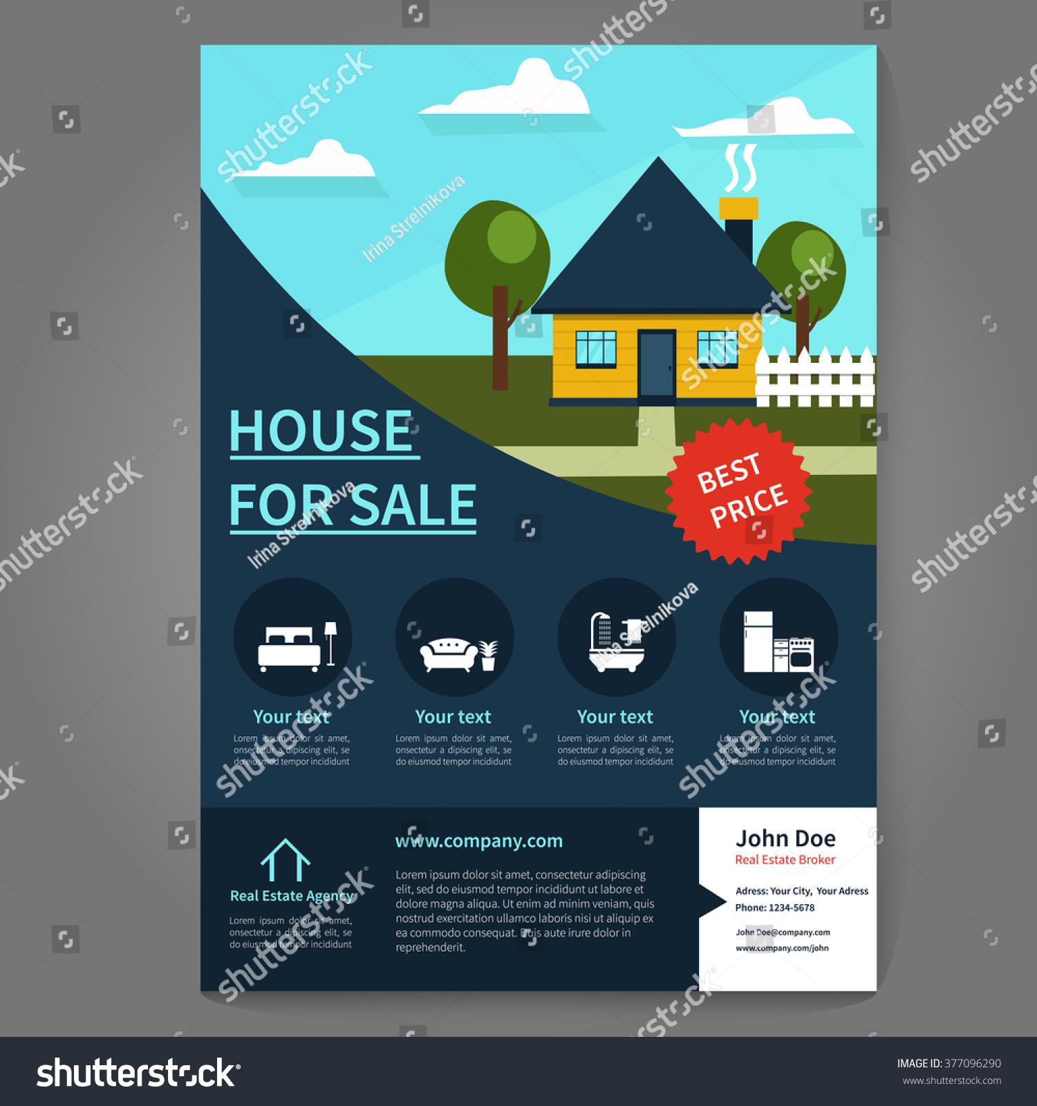 real estate broker flyer poster template stock vector  real estate broker flyer and poster template flyer concept