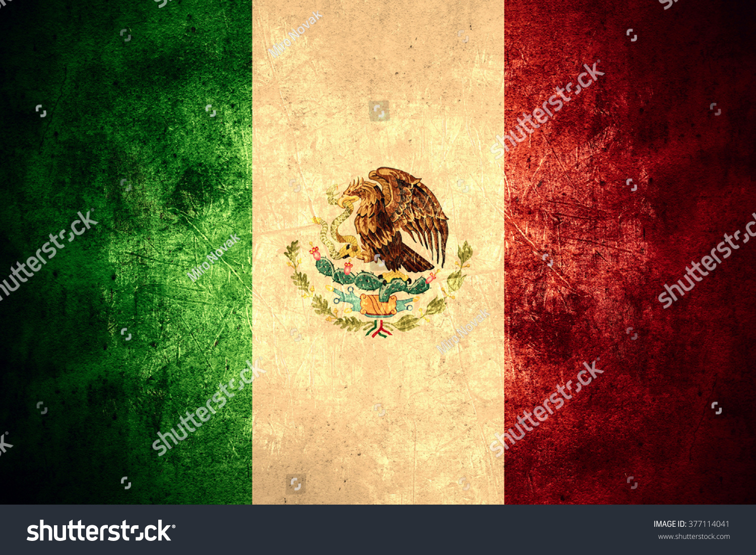 flag mexico mexican banner on rough stock illustration 377114041
