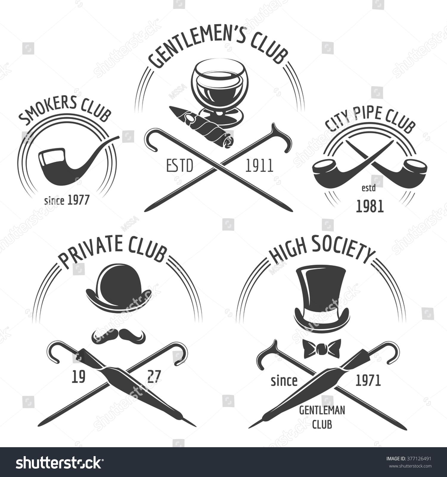 Vintage Gentlemen Club Emblem Set . Mustache Hipster Label