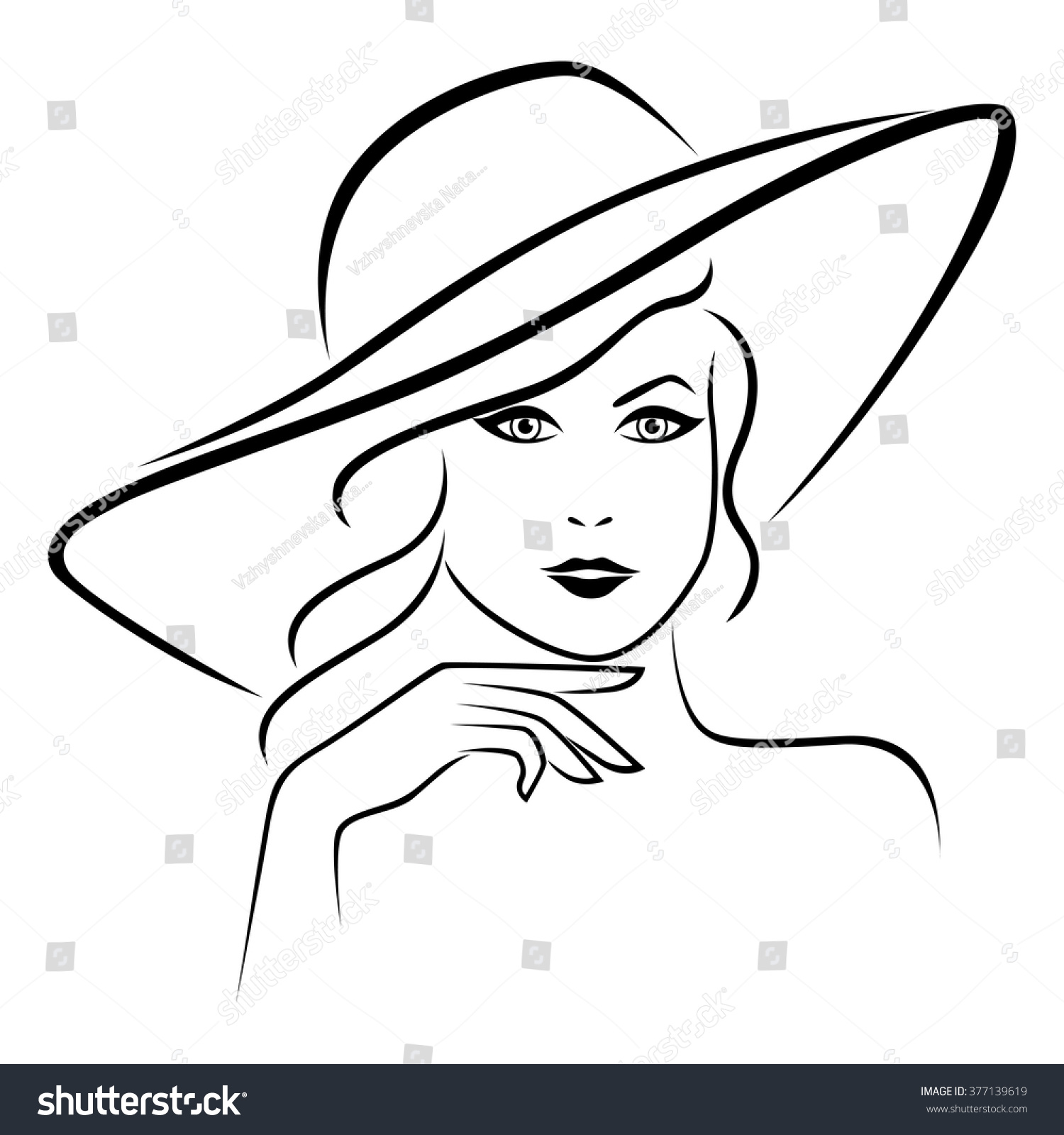 Silhouette Beautiful Woman Outline Style Hat Stock Vector ...