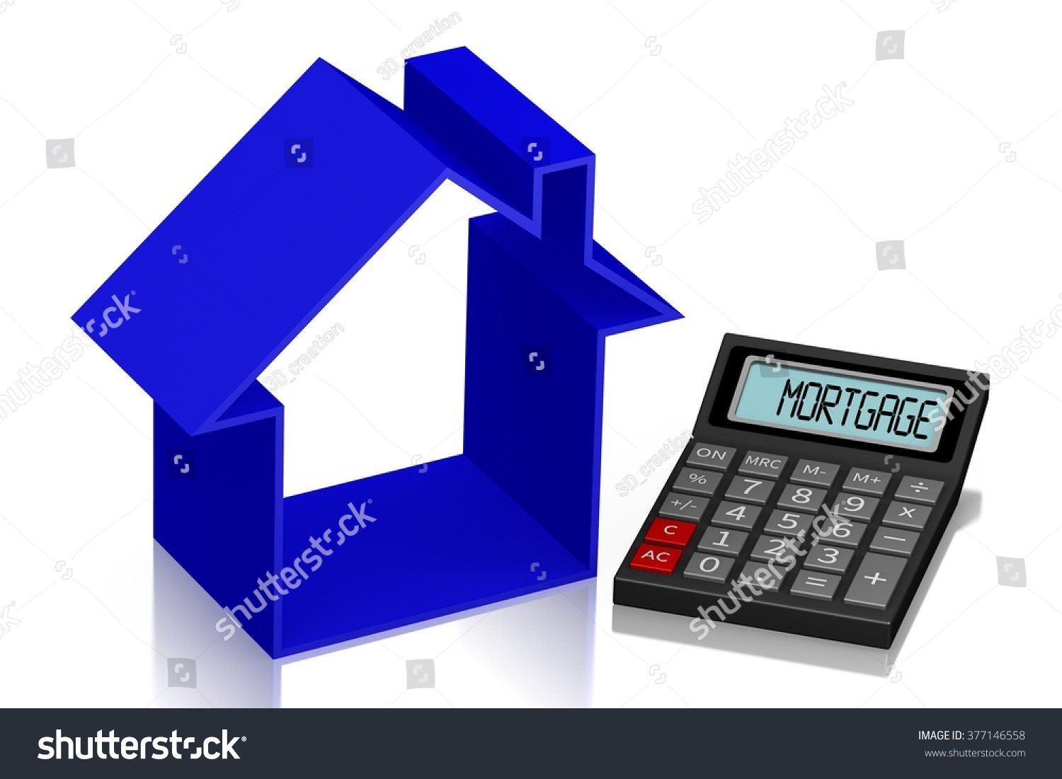 3 d housing issues concept calculator great stock illustration