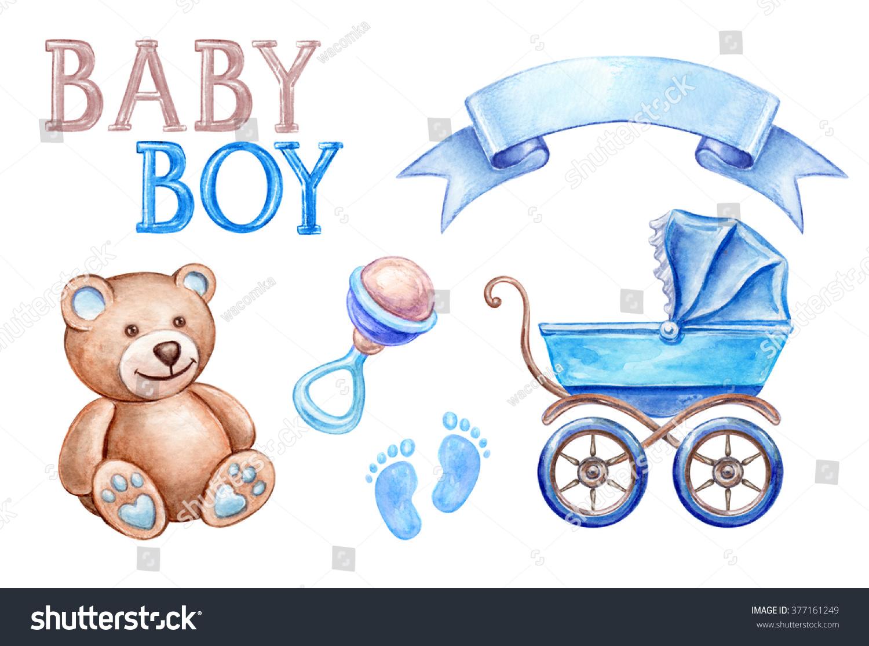 Baby Shower Clip Art Newborn Boy Stock Illustration 377161249
