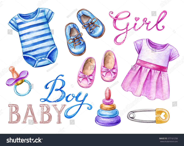 Baby Shower Clip Art Newborn Girl Stock Illustration 377161258