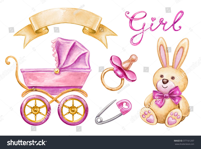Baby Shower Clip Art Newborn Girl Stock Illustration 377161297