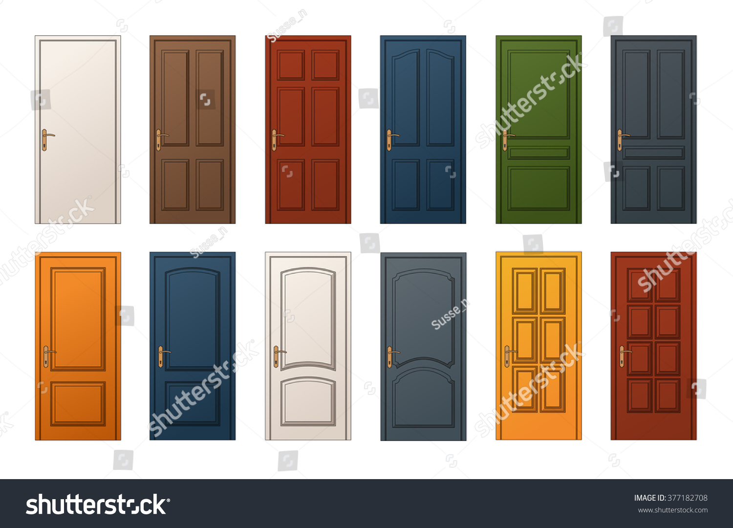 12 Colorful Wooden Doors Templates Collection Stock Vector (Royalty ...