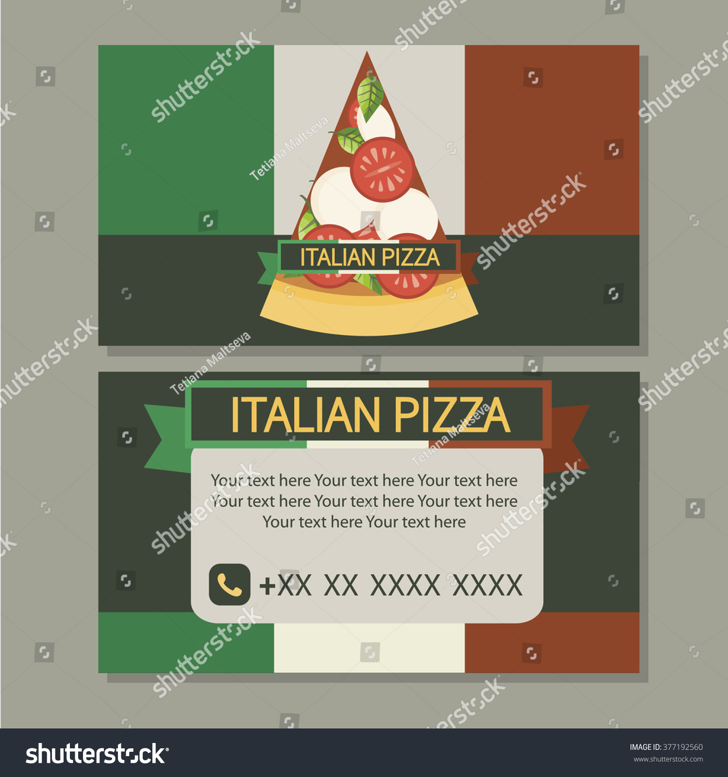 Pizza Cute Business Cards Design Pizzeria Stock Vector