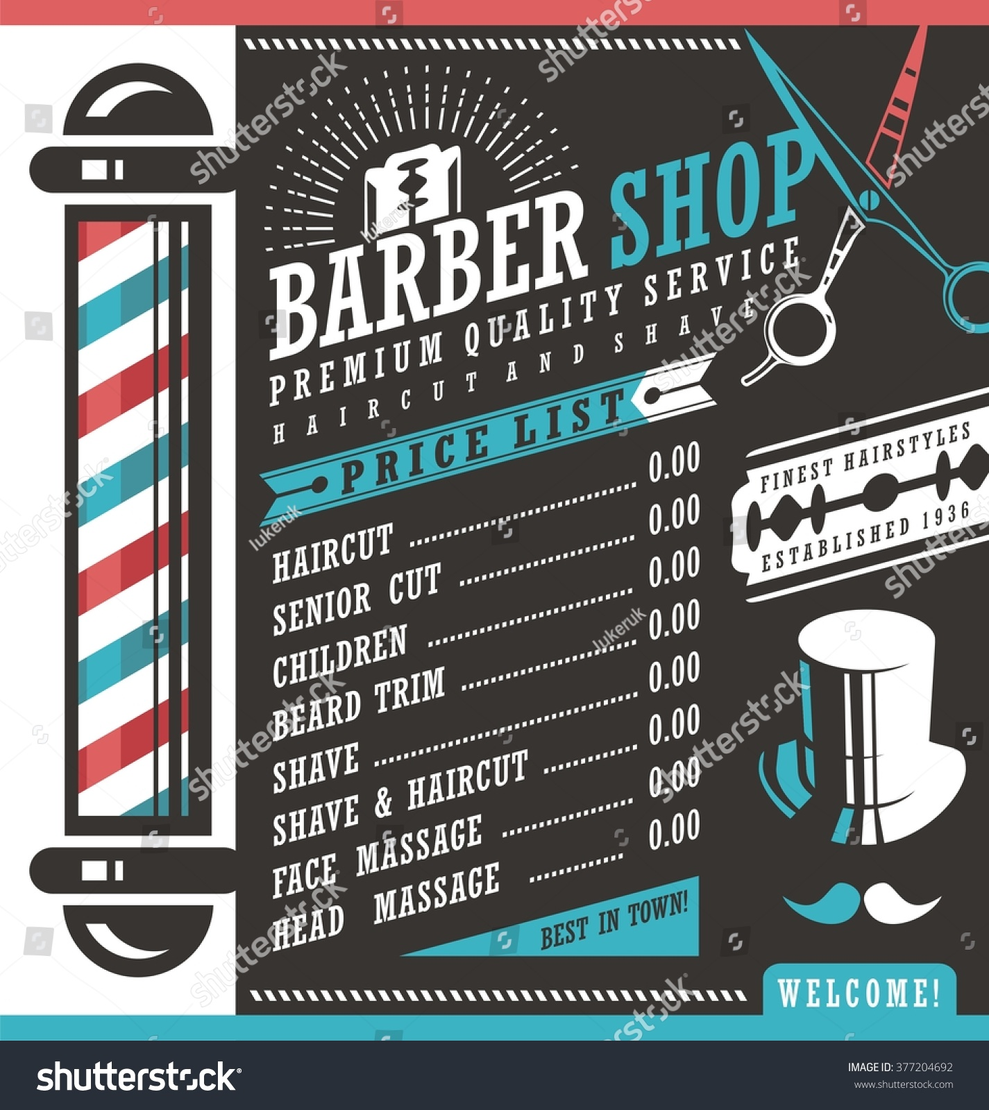 barber shop vector price list template stock vector royalty free