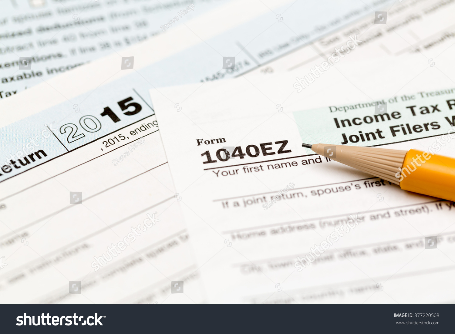 Usa irs tax form 1040ez year stock photo 377220508 shutterstock usa irs tax form 1040ez for year 2015 with pencil and taken from above falaconquin