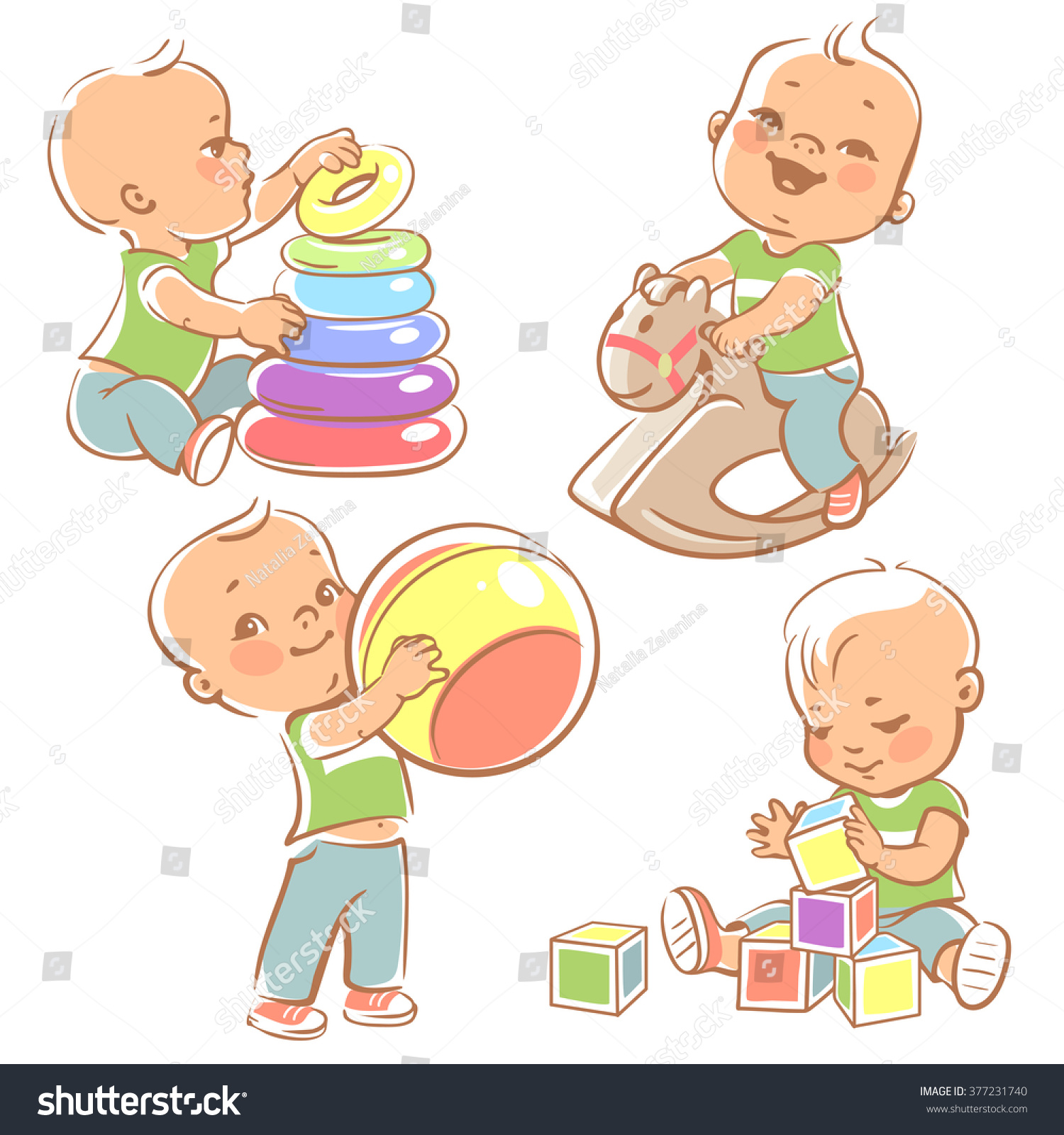 Children Play Toys Little Baby Boy Stock Vector