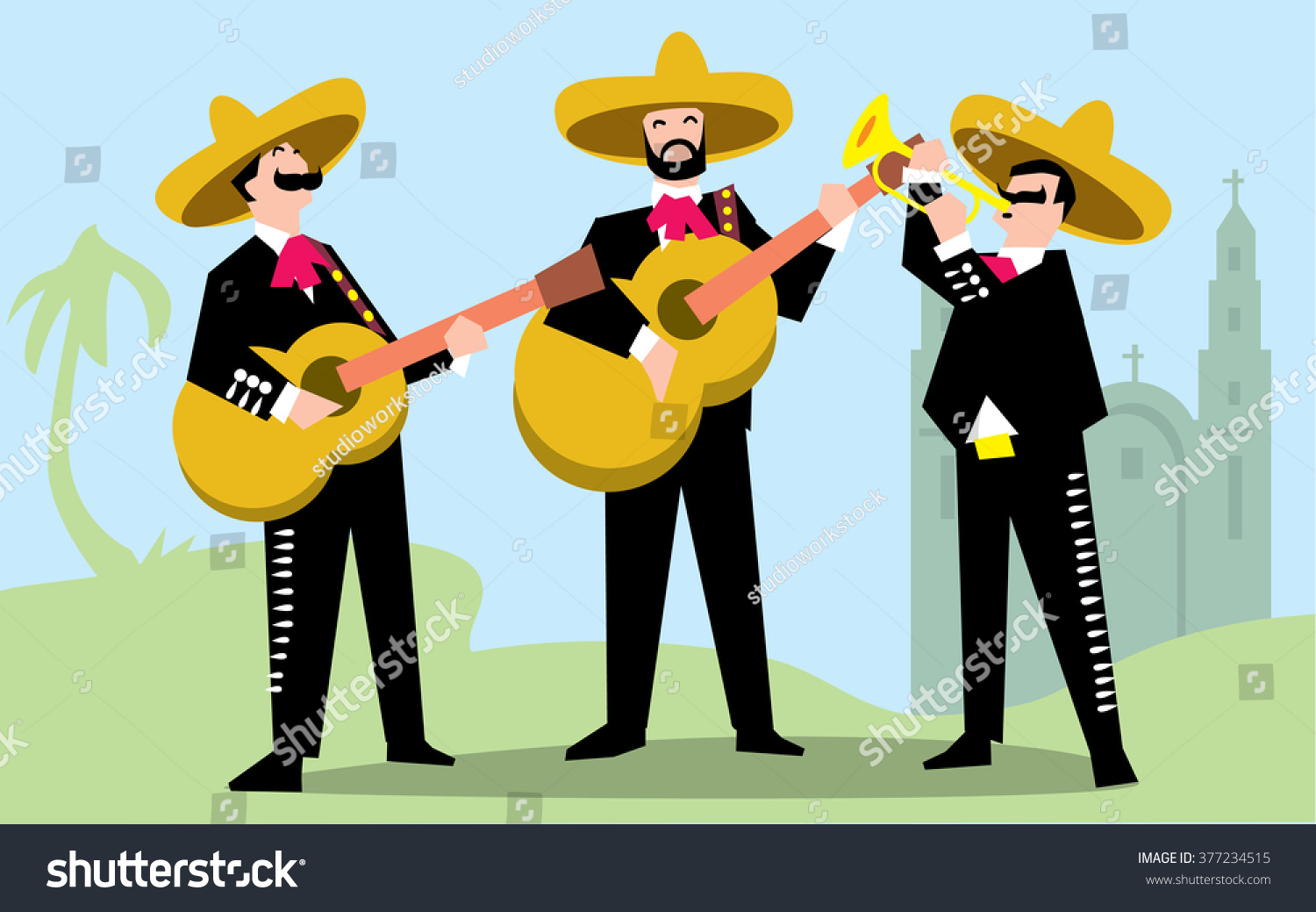 mariachi band in sombrero with guitar mexican music band music group in traditional costumes. Black Bedroom Furniture Sets. Home Design Ideas
