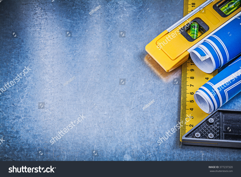 Blue Blueprints Construction Level Square Ruler Stock Photo (Edit