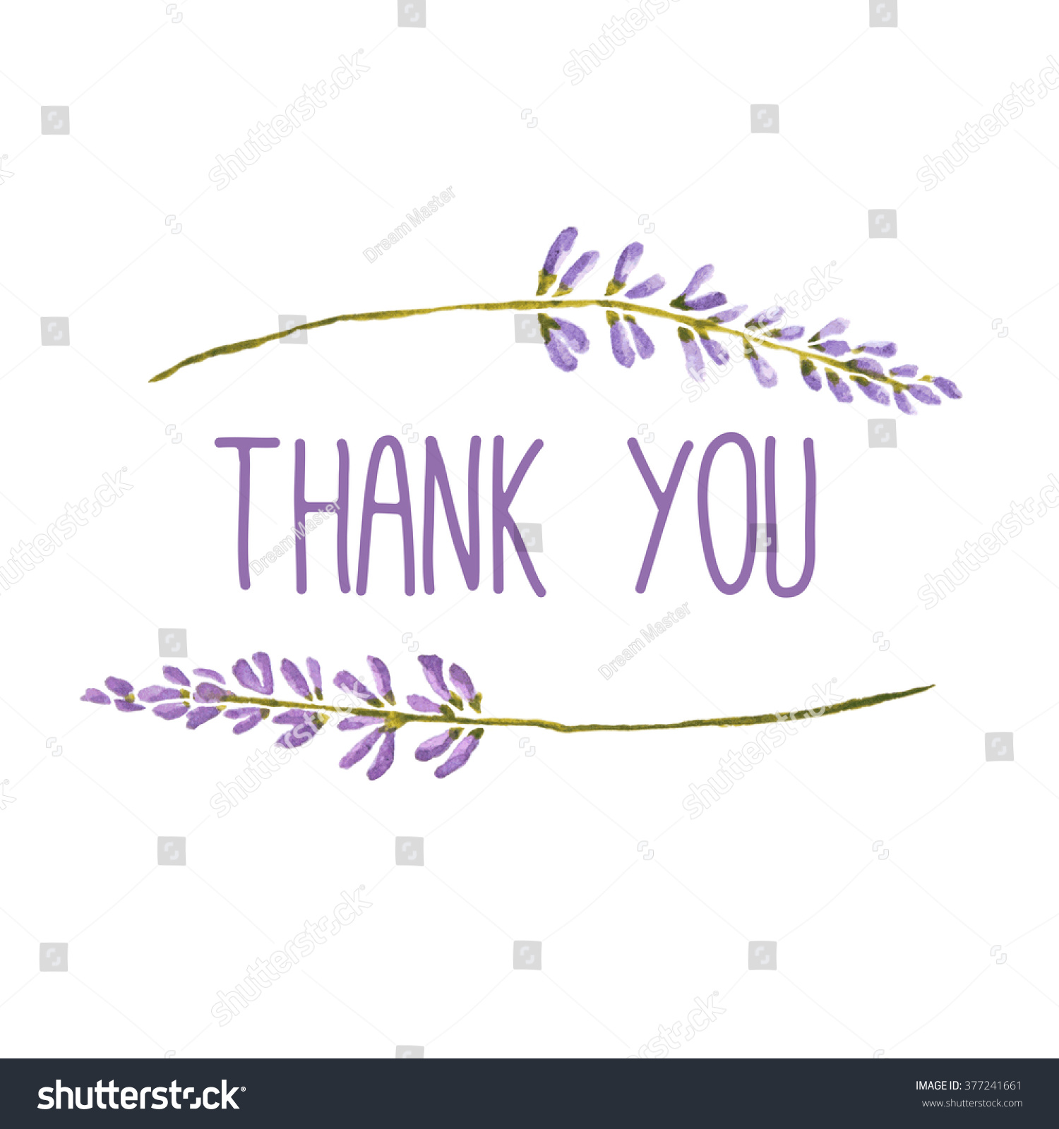 Watercolor Greeting Card Words Thank You Stock Illustration