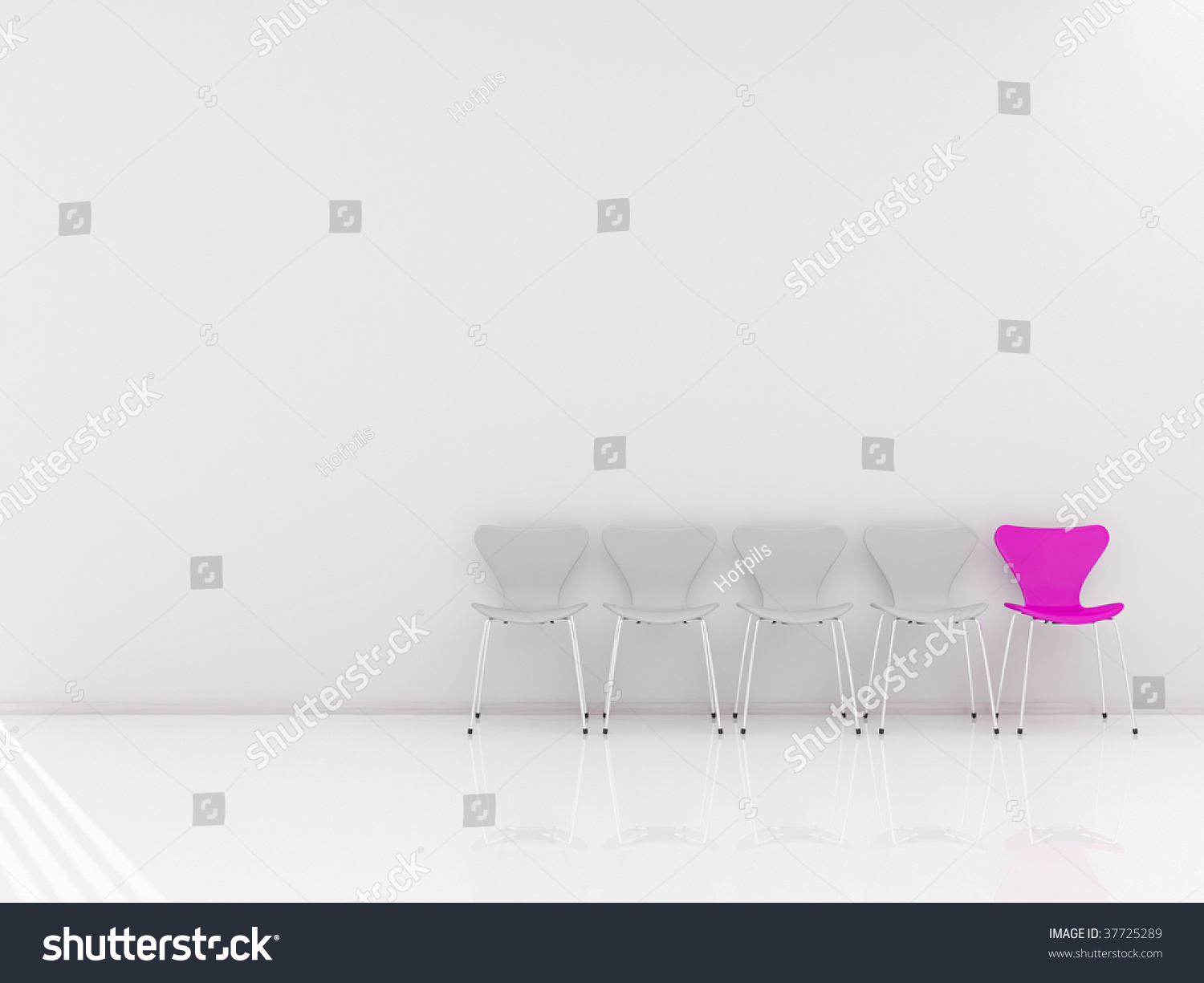 Four chairs and a pink chair to face a blank wall stock for Four blank walls