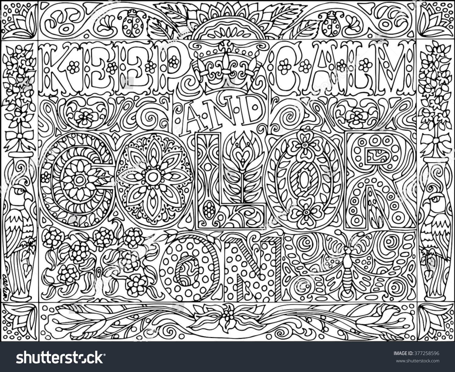 keep calm color on coloring stock vector 377258596