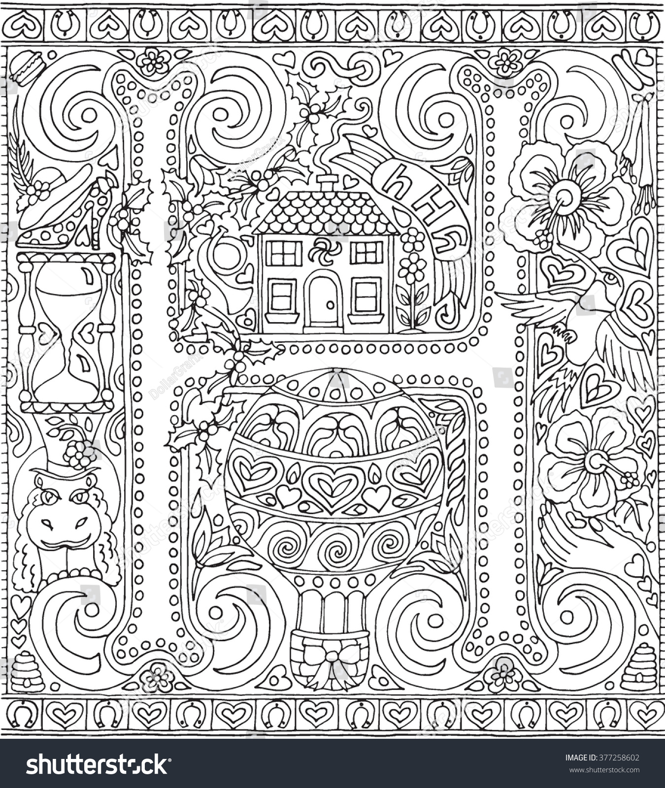 coloring book page alphabet letter stock vector 377258602